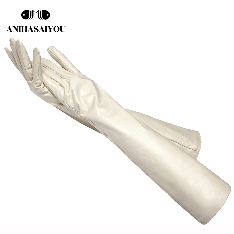 Simple Beige Long Leather Gloves,sheepskin Women's Long Gloves,women Long Gloves,Keep Warm Mittens Women's Winter - TCGSM
