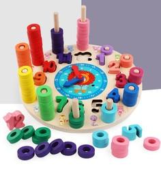 Деревянные многофункциональные радужные цифровые часы будильник когнитивные игрушки детские деревянные многофункциональные часы-будиль...