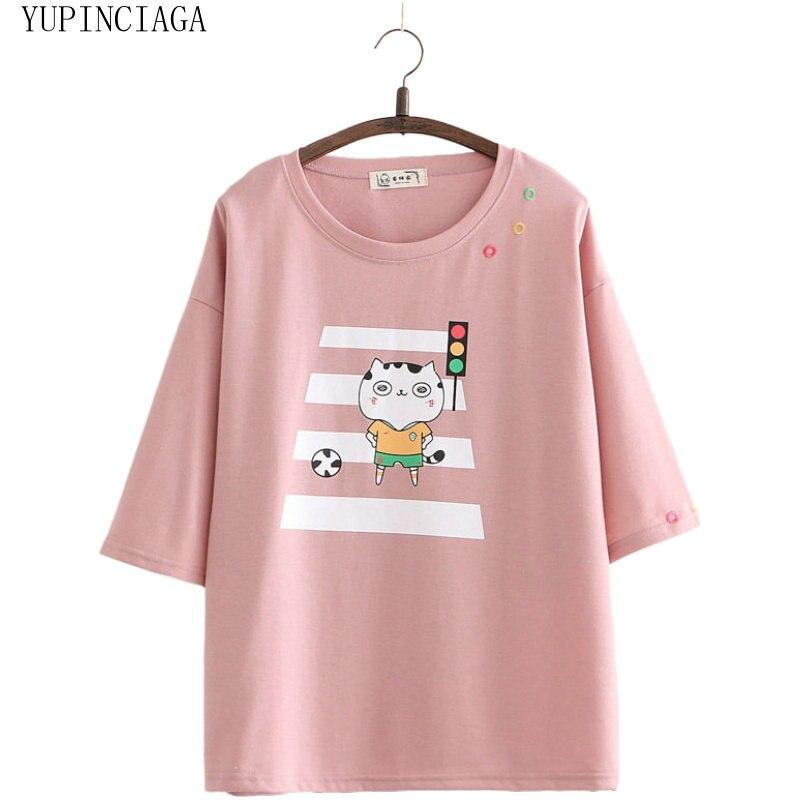 Японский Мори, Женская свободная футболка в стиле колледжа с коротким рукавом и рисунком кота, новинка 2020, летняя футболка, Femme, Повседневные...