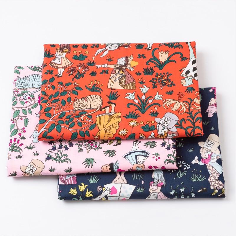 100% Popeline de algodão tecido para o vestido de Alice menina bonito impresso pano Roupas de cama DIY conjunto artesanal costura retalhos de tecido