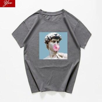 David Vaporwave funny t shirt men novelty graphic t-shirt loose streetwear Michelangelo  aesthetic tops 2020 hip hop hipster - sale item Tops & Tees