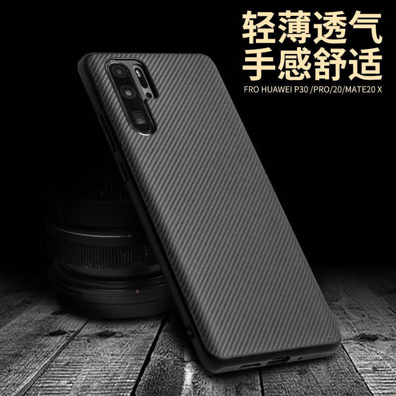 Qialino marque Fibre de carbone complète + étui arrière souple en silicone or polyuréthane thermoplastique pour Huawei P30 Mate 20 Mate20 Pro X coque de téléphone bon marché noir