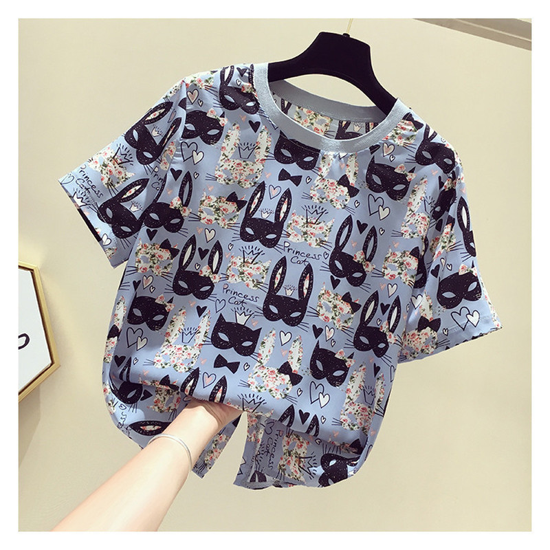 Summer Top Sexy Round Neck Short Sleeve Chiffon Shirt Sweet Cartoon Print Women Blouses Casual White Tops Female Blusas Mujer