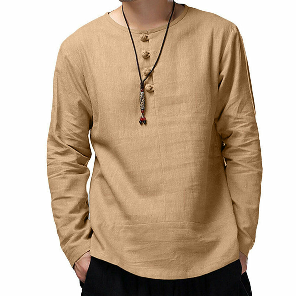 Fashion Mens Cotton Linen Pullover Dish Buckle  Shirt Male Casual Tops Loose O Neck Long Sleeve Loose Solid Shsirts Clothes