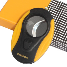 COHIBA Plastic Cigar Cutter Stainless Steel Blades Guillotine Portable Scissors Knife