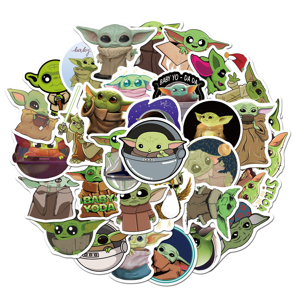 Baby Yoda Non-repeated Tide Brand Joint Notebook Skateboard Stickers Guitar Trolley Case Waterproof Car Doodle Sticker Laptop