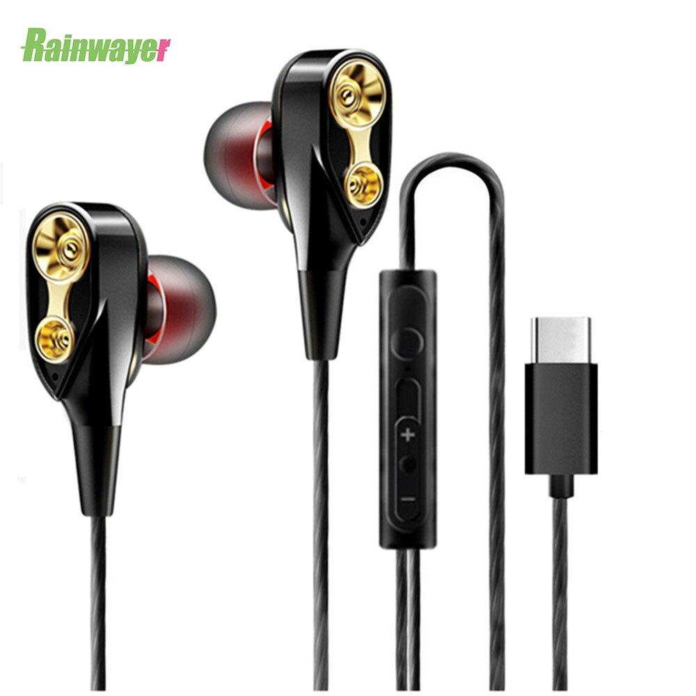 Type C Dual Drive Stereo Earphone With Mic In-ear Type-C Headset Earbuds Super Bass Earphones For Huawei Xiaomi
