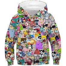 Children Harajuku Anime Cartoon Hoodies Adventure Time Kawaii Clothes Boy Girl 3D Hooded Sweatshirts Kids Autumn Spring Pullover