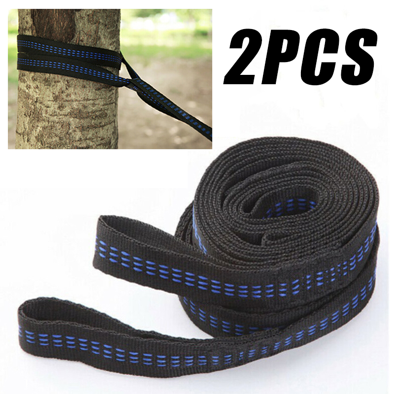 2pcs Hammock Strap 200cm Tree Hanging Spare Part Outdoor Aerial Yoga 200KG Load Portable Outdoor Camping Hammock With Mosquito
