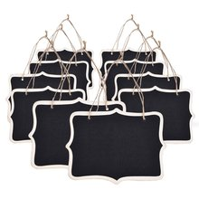 METABLE Set of 10 Mini Rectangle Chalkboard Label for Message Board Signs, Black,