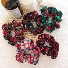 Бантом ленты Для женщин резинки для волос для девочек волос шарф из эластичного хлопка для маленьких девочек и мальчиков в виде снежинок с красным принтом в виде решетки, обтянутая тканью; хвощ Рождественское украшение для волос