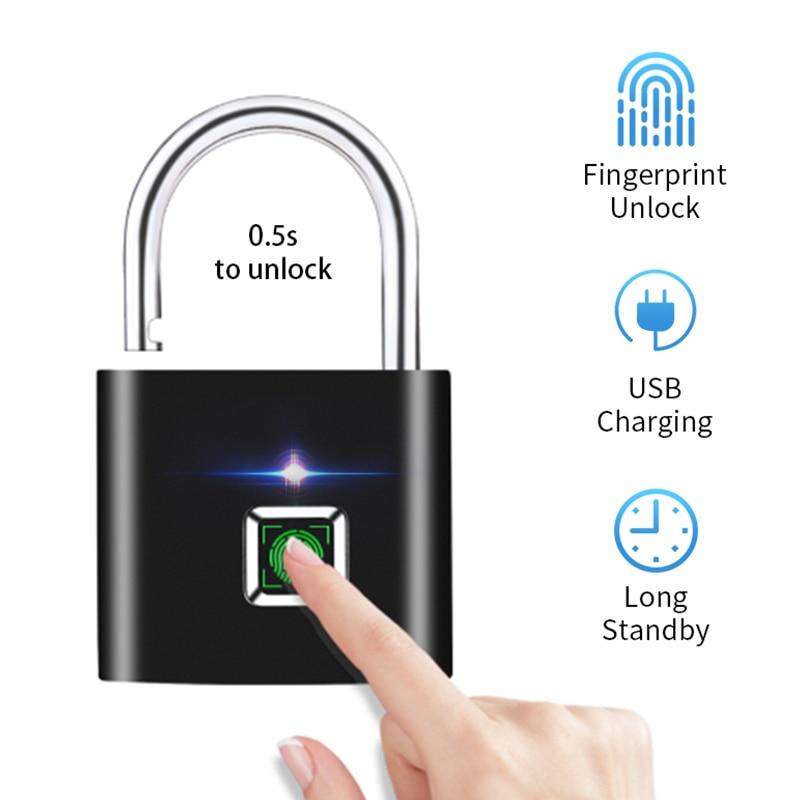 Smart Fingerprint Lock USB Rechargeable Fingerprint Padlock Quick Unlock Zinc Alloy Metal Self Developing Chip For Door Luggage