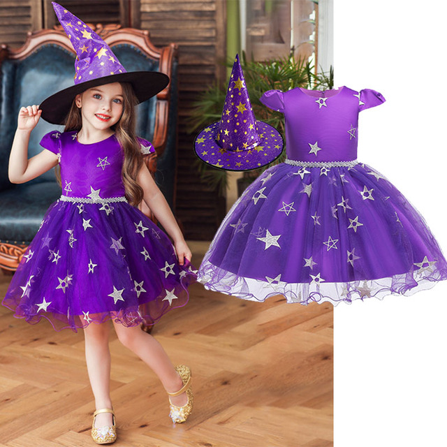2019 New Fantasy  Witch Dress With Hat 2PCS Children Halloween Cosplay Party For Girls Witch stage Dresses Costume Kids Clothing