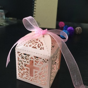 Image 5 - 50pcs/lot DIY Crossing Candy Boxes Angel Gift Box For Baby Shower Baptism Birthday First Communion Christening Easter Decoration