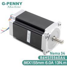 Motor de passo nema 34 cnc 86x155mm 13 n. m 6a eixo 14mm nema 34 motor de passo, 1700oz in para máquina de gravação cnc impressora 3d