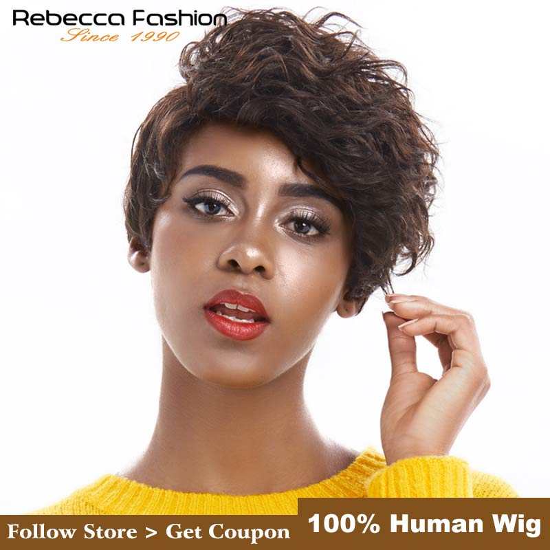 Rebecca Pixie Cut Wig Short Wavy Wig Brazilian Remy Human Hair Wigs For Black Women Mix Brown Red Wine Colored Free Shipping