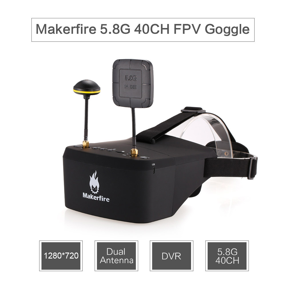 EV800D 5.8G 40CH Double Antenna FPV Goggles Video Glasses with DVR for QAV 250 220 210 For RC Model Racing Drone 1