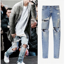 Men high street destroyed slim fit ripped jeans mens hip hop ankle zipper biker denim pants justin bieber jeans streetwear