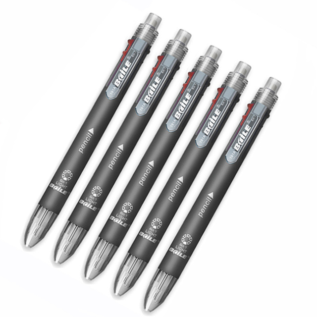 5pc/lot Creative 6 In 1 Multicolor Ballpoint Pen 5 Colors 0.7mm Ball Pen Refill with 1pcs 0.5mm Automatic Pencil School Supplies 3