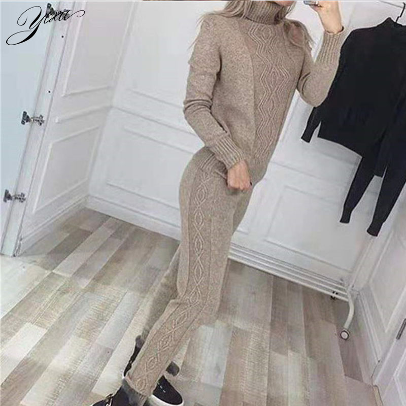 Woman Winter Knitted Suits Turtleneck Sweater Pencil Pants Sets Woman Casual New Warm Female Casual Two-pieces Set