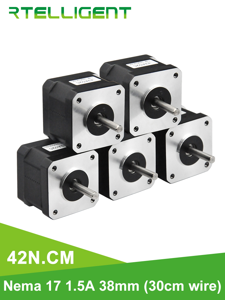 Rtelligent Stepper Motor Nema 3d-Printer 42BYGH 17 38mm 42n.cm 5PCS for XYZ