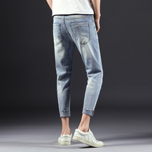 Men Jeans Stretch Destroyed Ripped Men's Mid-rise Tight-leg Stretch Crop Jeans Design Fashion Ankle Zipper Skinny Jeans For Men low rise bleach wash skinny jeans