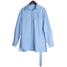 Blue Long-sleeved Shirt Single-row Button-down Lapel Loose-band 2019 Button Broadcloth Shirts Women