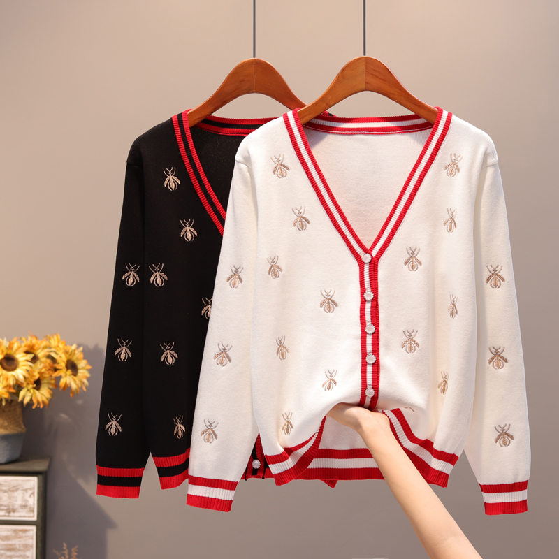 2019 New Knitting Long-sleeve Bee Embroidery Women Cardigan Autunm Thin Office Lady  Contrast Color  Button Sweaters  Women