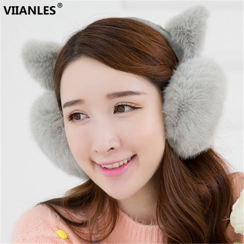 VIIANLES Earmuffs Winter Fashion Lovely Girl Ear Fur Earmuffs Anti-cracking Keep Warm Earmuffs Cute Ear Hairy Cover Headphones