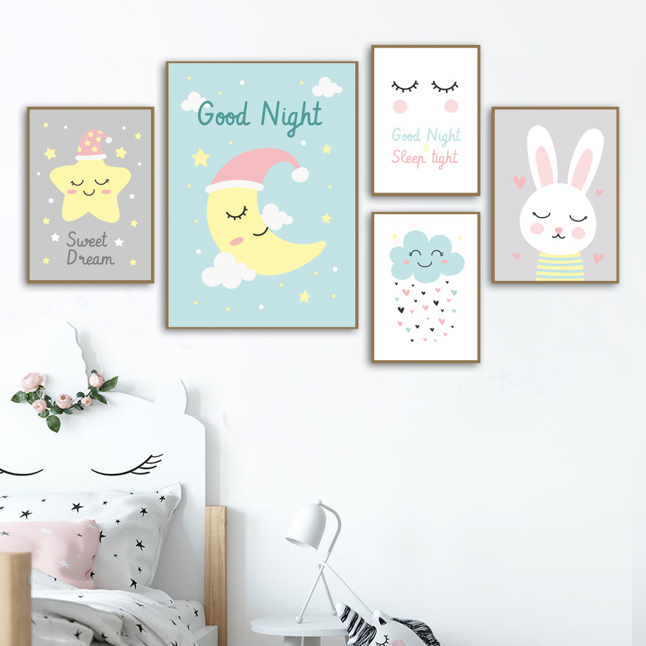 Cartoon Star Moon Cloud Rabbit Wall Art Print Canvas Painting Nordic Canvas Posters And Prints Wall Pictures For Baby Kids Room in Painting Calligraphy from Home Garden