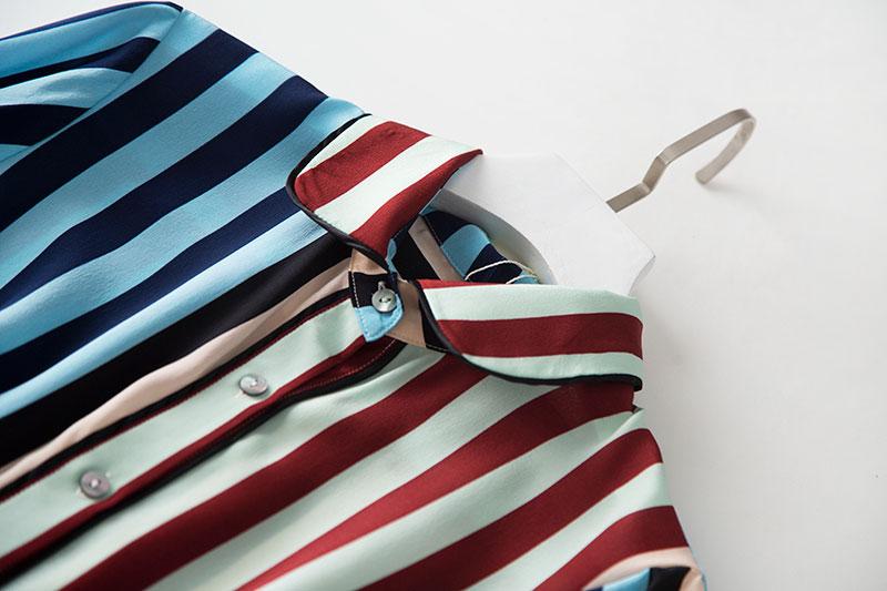 2020 nuevo vestido de camisa de seda de peso pesado a la moda moderno con estampado de rayas de manga larga con lazo en la cintura ol - 4