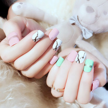 24pcs/box with 2g glue Girls Sweet Cute Jelly Marble Pattern Design Fake Nails p