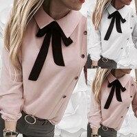 Осенняя Новая модная женская элегантная Однотонная рубашка с воротником на пуговицах и галстуком-бабочкой, Повседневная Блузка с длинными ...