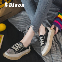 Bison Autumn Flat Shoes Women Canvas Rhinestone Casual Shoes Female Transparent Flat Bottom Summer Lace Up Vulcanized Shoes