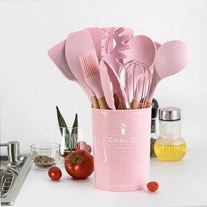 11 шт силиконовые кухонные инструменты принадлежности Набор розовая деревянная ручка с коробкой для хранения кухонные принадлежности