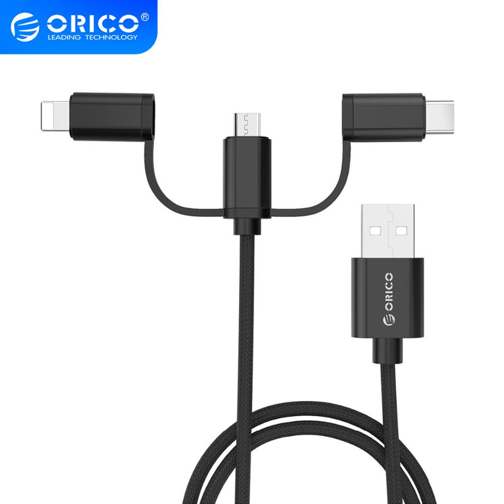 ORICO <font><b>3in1</b></font> <font><b>USB</b></font> <font><b>Cable</b></font> Type C Lighting Micro Charge <font><b>Cable</b></font> <font><b>For</b></font> <font><b>iPhone</b></font> X 7 8 Plus IOS <font><b>For</b></font> Xiaomi Huawei Samsung Fast Charging <font><b>Cables</b></font> image