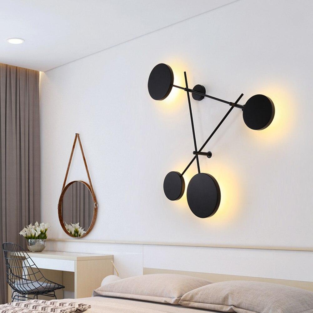 Criativo preto personalidade redonda lâmpada de parede