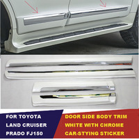 UBLUEE Accessories For Toyota Land Cruiser Prado FJ 150 2010 2018 white with Chrome Door Side Moulding body moulding Cover Trim