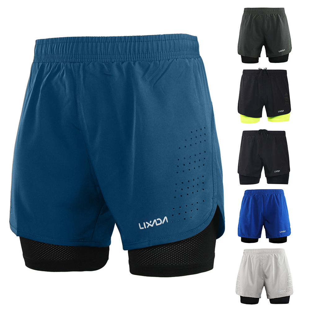 Lixada Men's Cycling Shorts Quick Drying Breathable Active Training Exercise Jogging Running Sports Shorts With Longer Liner
