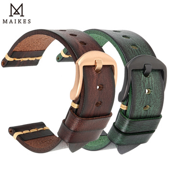 Handmade Leather Watch Strap Vintage Vegetable tanned leather Watch Band For OMEGA Fossil CITIZEN SEIKO HUAWEI Watchband
