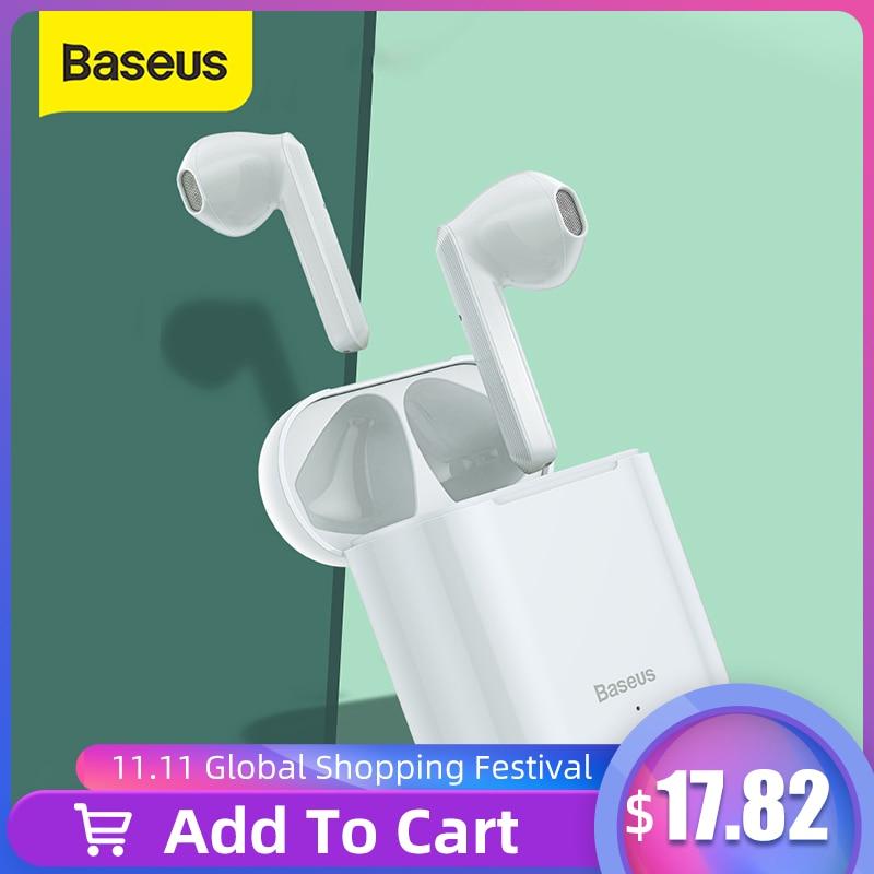 Baseus w09 tws sem fio bluetooth fone de ouvido inteligente controle toque sem fio tws fones com som