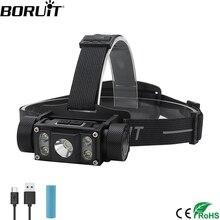 цена на BORUiT B50 LED Headlamp XM-L2+4*XP-G2 Max.6000LM Headlight 21700/18650 TYPE-C Rechargeable Head Torch Camping Hunting Flashlight