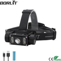 Linterna frontal LED BORUiT B50 XM-L2 + 4 * XP-G2 Max.6000LM linterna de cabeza recargable de 21700/18650 TYPE-C linterna de caza de Camping