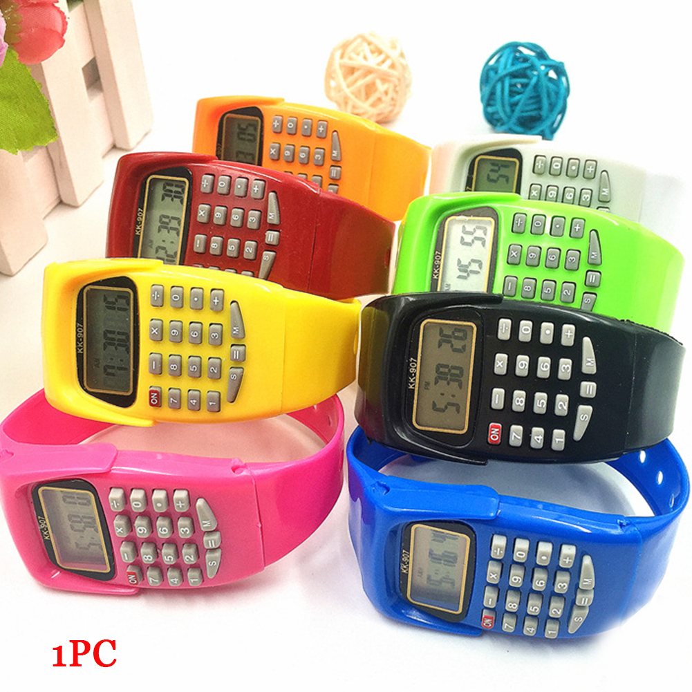 Boy And Girl Children Calculator Watch Live LED Clock Kid Silicone Multi-Purpose Date Time Electronic Digital Wrist Watch