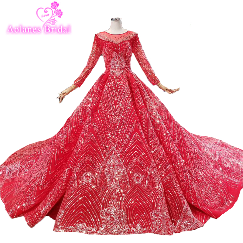 Glitters Puffy Long Sleeves Red Prom Dresses Super Puffy Ball Gown Big Train Ruched Bridal Party Gowns Royal Long Evening Dress