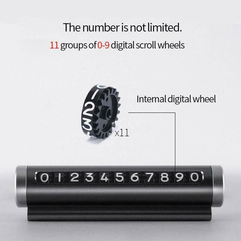 Hot Car Roller Type Rotating Stop Telephone Number Sign Car Temporary Parking Card Creative Metal Hidden Telephone Number Plate in Car Stickers from Automobiles Motorcycles