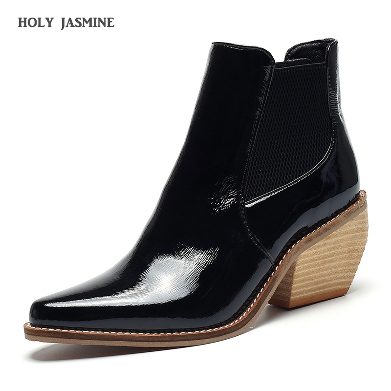 2019 Western Cowboy Boots For Women Pointed Toe Western Boots Leather Ankle Women Boots Block Wedges Boots Autumn Winter botas