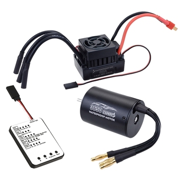 Hot Waterproof 3650 2300KV/3100KV/3900KV Brushless Motor with 60A ESC W/ Program Card Combo for 1/10 RC Car Truck Toy 2300KV