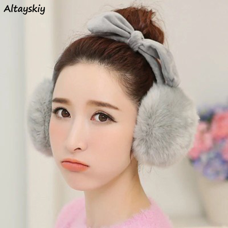 Earmuffs Women Kawaii Winter Female Korean Style Cute Bows Rabbit Girl Warm Womens Harajuku Accessories Elegant All-match Chic