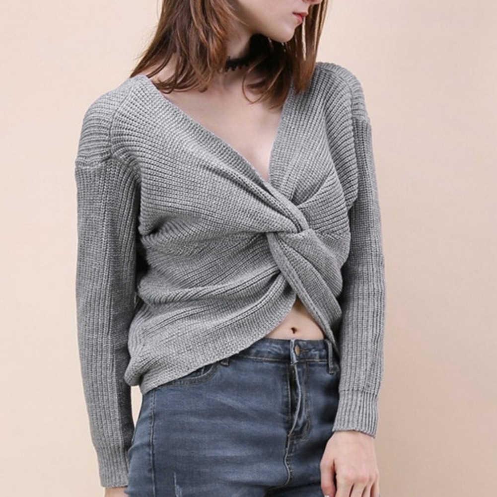 섹시한 솔리드 컬러 스웨터 여성 브이 넥 트위스트 다시 매듭 스웨터 긴 소매 점퍼 풀오버 한 사이즈 느슨한 따뜻한 스웨터 свитер